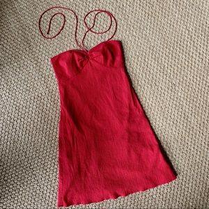 LOFT Ann Taylor Red Cotton Dress w/ Center Tie